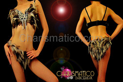 Natural brown feathered samba bra and belt with crystal and silver beading