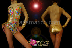 Corset illusion Golden sequin high neck leotard with rainbow crystals