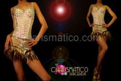 Nude toned iridescent crystal studded corset and matching Boy-short feather skirt