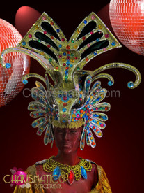 Bejeweled Golden glitter drag queen headdress with mirror tile accents