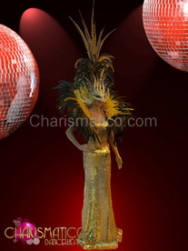 CHARISMATICO Gold sequin pageant gown with matching yellow collar and mask headdress