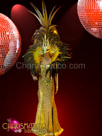 Gold sequin pageant gown with matching yellow collar and mask headdress