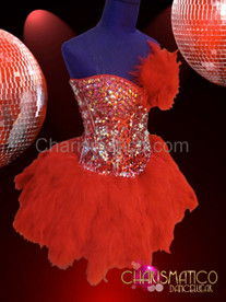 Red sequin corset with feathers and iridescent crystals with matching skirt