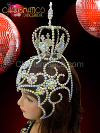 "Rhinestone and iridescent crystal swirled cap ""mini crown"" showgirl's headdress"