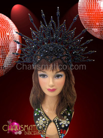 Shimmering black openwork beaded cap styled diva's cabaret halo headdress