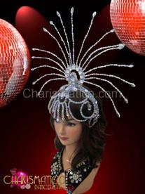 Sheer silver openwork beaded cap styled showgirl's cabaret sun headdress
