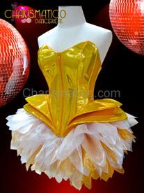 Metallic gold vinyl Gaga corset with gold and white tutu