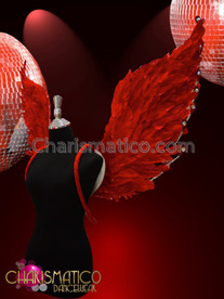 CHARISMATICO Rhinestone Crystal accented red feathered burlesque showgirl's angel wing backpack