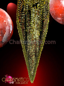CHARISMATICO Black and gold beaded deep V-Hem Dance dress with gold sequins