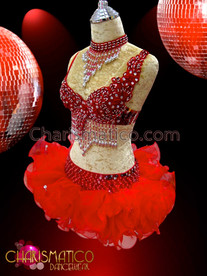 CHARISMATICO Silver beaded red sequined Go-Go bra and matching organza tutu