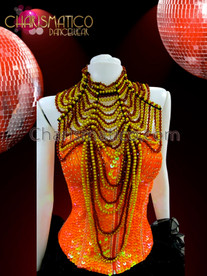 CHARISMATICO High necked Brown and gold beaded diva's gothic showgirl's necklace