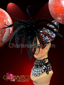CHARISMATICO Asymmetrical black feather headdress with ruby and silver accented swirls