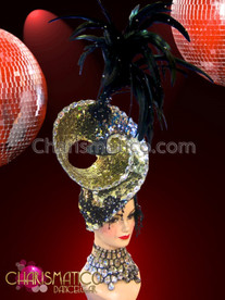 CHARISMATICO Double Asymmetrical gold and black sequined swirled feather headdress set