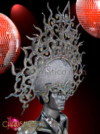 CHARISMATICO Openwork glitter silver headdress with mirror tiles and iridescent crystals
