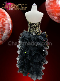 CHARISMATICO Black corset with floral gold beading and double organza ruffle skirt