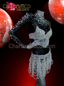 CHARISMATICO Sheer crystal accented black leotard, crystal bra and belt set