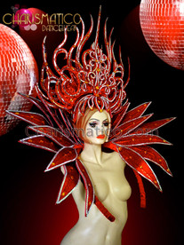 CHARISMATICO Red glitter headdress and collar with mirror and amber accents
