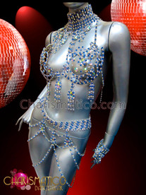 CHARISMATICO Showgirl's blue and iridescent crystal rhinestone bra and thong set