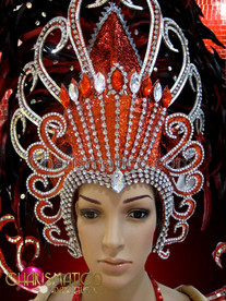 CHARISMATICO Red and silver pageant gown with matching headdress and wings