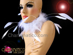 CHARISMATICO Diva Showgirl's Couture white burlesque marabou feather collar style necklace