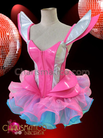 CHARISMATICO Pink and silver Gaga corset with matching pink and blue organza tutu