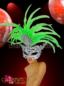 CHARISMATICO Neon green feather accented crystal covered Diva's Venetian mask