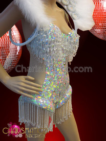 CHARISMATICO figure flattering White and crystal accented showgirl's iridescent sequined leotard