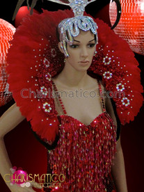 CHARISMATICO showgirls Beaded sleek red leotard and classic feather collar backpack