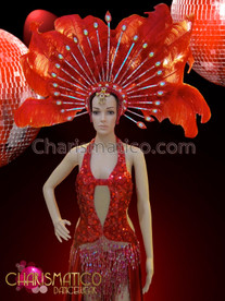 CHARISMATICO Red sexy sequined gown with flowing skirt and ostrich feather headdress