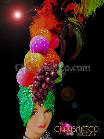 CHARISMATICO Showgirl's green turbaned towering fruit headdress with sunny ostrich feathers