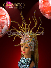 CHARISMATICO showgirl's exotic twig accented golden headdress with crystal beaded cap