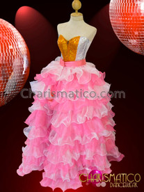 CHARISMATICO Full pink and white shimmering iridescent organza ruffle ballgown skirt