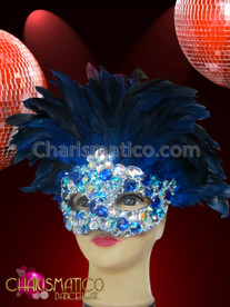 CHARISMATICO sapphire and crystal crusted Diva's carnival mask with royal blue feathers