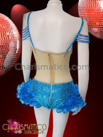 CHARISMATICO Crystal and amber accented Diva's side-cutout Leotard with hip ruffles