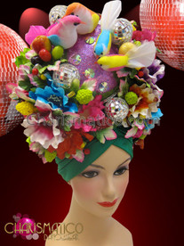 CHARISMATICO Exotic Latin Green turban based tropical floral headdress with birds