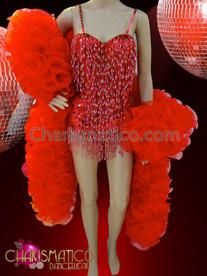CHARISMATICO Showgirl's red beaded hotpant dance leotard and ruffled organza boa
