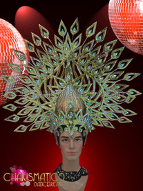 CHARISMATICO Tall golden glitter cabaret headdress with mirror tiles and crystals