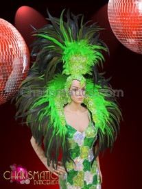 CHARISMATICO Classic lime green showgirl's headdress and collar set with deeper green accents