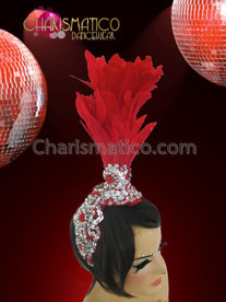 CHARISMATICO Shimmery Silver Sequin Accented Showgirl Diva's Red Feather Cabaret Headdress