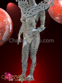 "CHARISMATICO Complete Swirled Styled Silver ""Disco Ball"" Mirror and Crystal Costume Set"