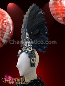 CHARISMATICO Classic White Bead Accented Black Diva Showgirl Feathered Cabaret Headdress