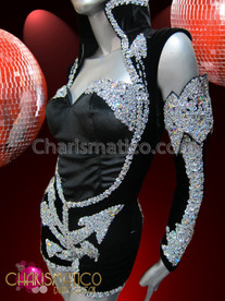 "CHARISMATICO Silver Sequined Navy Leotard with Half Attached Sleeves like Beyonce ""Halo"""