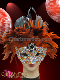 CHARISMATICO Onyx, Amber and Iridescent Rhinestone Crystallized Orange and Black Feather Mask