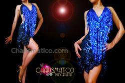 CHARISMATICO Halter Style V-Neck Royal Blue Sequin Fringe Ruffle Dance Dress