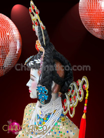 CHARISMATICO Highly Detailed Braided and Bejeweled Diva's Chinese Style Showgirl Headdress