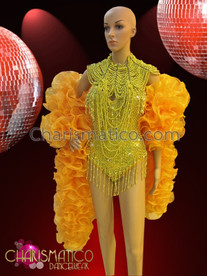 CHARISMATICO Yellow beaded Leotard with Matching Gothic Diva Necklace and Organza Boa