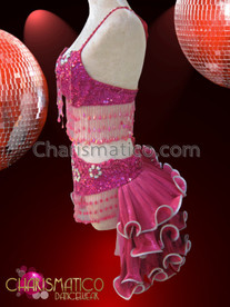 CHARISMATICO Diva's Pink Bra, Thong, And Tail-Skirt Mambo Salsa Dance Set