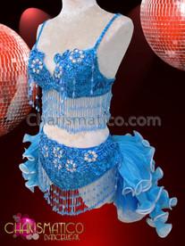 CHARISMATICO Diva's Blue Bra, Thong, And Tail-Skirt Mambo Salsa Dance Set