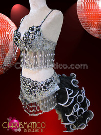 CHARISMATICO Diva's Silver Bra, Thong, And Tail-Skirt Mambo Salsa Dance Set