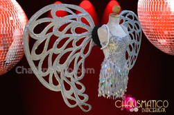 CHARISMATICO Silver Glitter And Mirror Tile Accented Angel Inspired Cabaret Wing